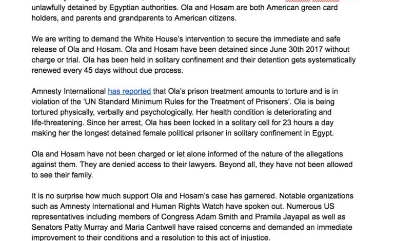 CODEPINK Urges President Donald Trump to Take Action to free Ola and Hosam
