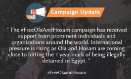 Campaign Update: Rising International Support for the release of Ola and Hosam